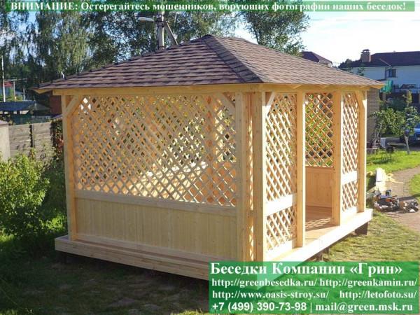 Садовый шатер для дачи 3х4 с барбекю из кирпича