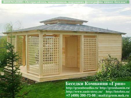 Прямоугольная садовая беседка с навесом 3х6